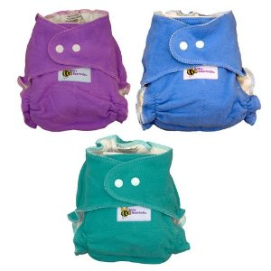 Three colourful bamboo fitted cloth diapers