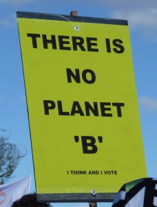 "Rally sign reading ""There is no Planet 'B'"""