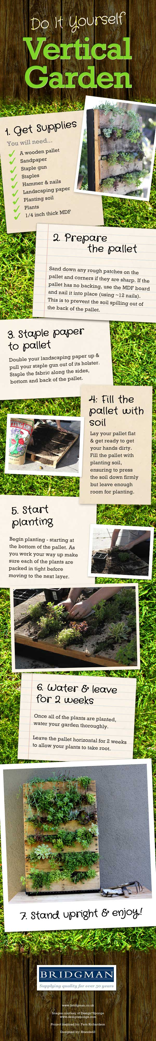 Do it Yourself Vertical Garden - goes through whole process from supplies needed to putting in the plants, with images of each stage. Text only version is below.