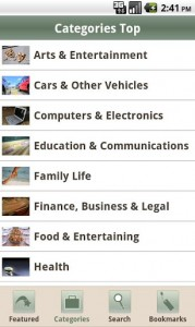 Wiki how screenshot showing top categories: Arts & Entertainment, Cars & Other vehicles etc.