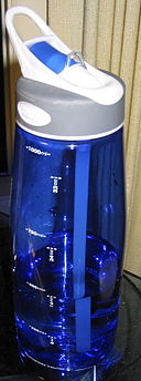 Blue CamelBak water bottle.  Image by Kenyon [Public domain], via Wikimedia Commons