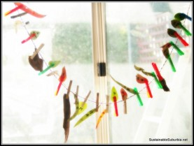 Gumleaves and bark hanging by pegs on a string in the window, numbered 1-25 for the countdown to Christmas