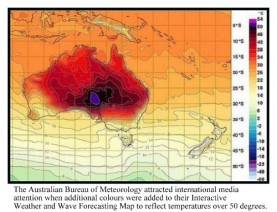 New BOM weather map showing the extreme heat over Australia in January 2013, with a new colour purple in the centre, where the temperature was in the 50s Celcius.