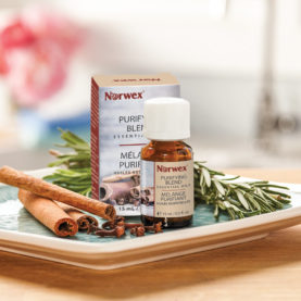 Norwex Purifying Blend Essential Oil contains clove, cinnamon, eucalytus, orange and rosemary essential oils