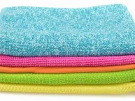 stack of microfibre cleaning cloths