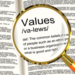 Values: the common beliefs of a segment of people about what is good and right