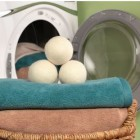 fluff and tumble 100% new zealand wool dryer balls sitting on ultra absorbent microfibre towels | SustainableSuburbia.net