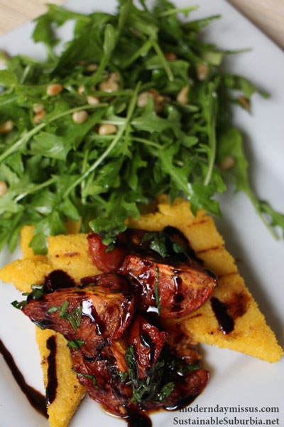 Grilled polenta with roasted balsamic tomatoes and a rocket and pine nut salad | SustainableSuburbia.net