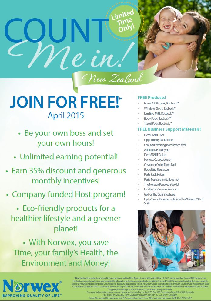 Join Norwex in New Zealand – for FREE | Sustainable Suburbia