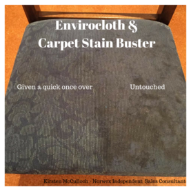 Before and After - Norwex carpet stain buster and enviro cloth vs a dirty dining chair | SustainableSuburbia.net