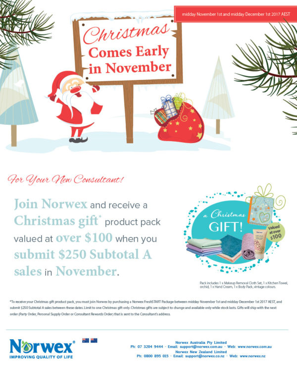 Join Norwex in Australia or New Zealand in November to take advantage of this special Christmas offer!